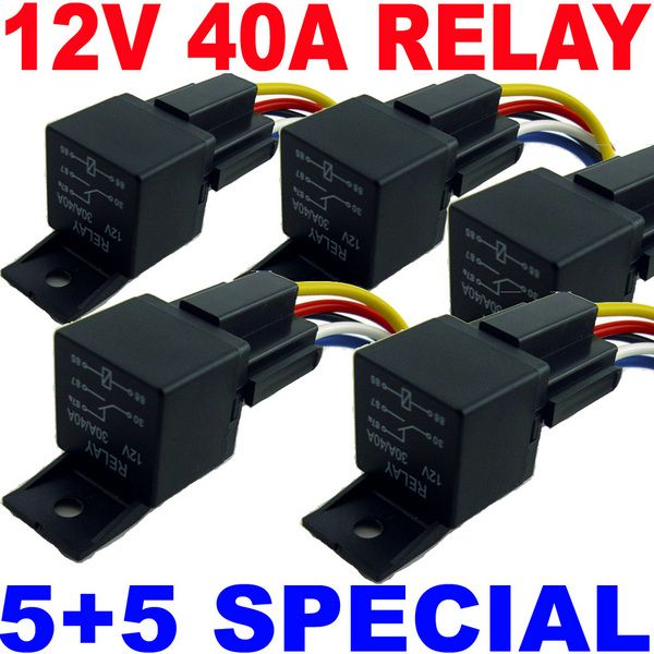 5 12v Bosch Style Relays 40a Spdt 5 5 Wire Sockets