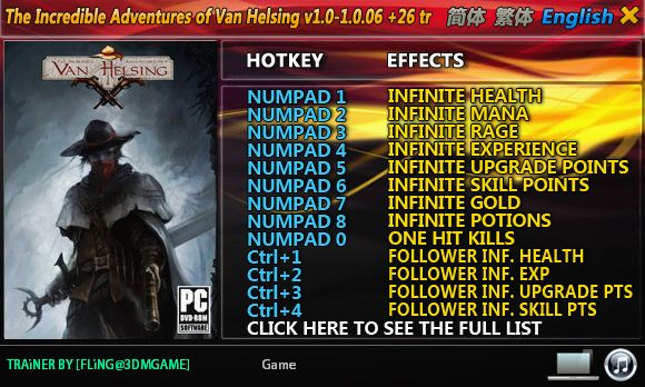The Incredible Adventures of Van Helsing 1.0-1.0.06 +26 Trainer [FliNG]