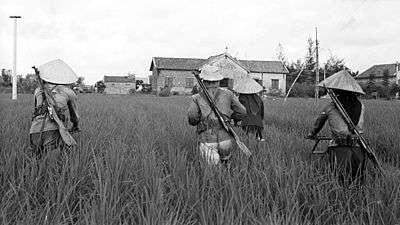 Vietnamští rolníci vyzbrojení puškami