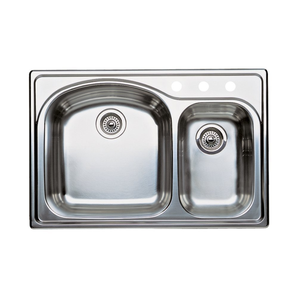about Blanco 440171-3 Wave 3-Hole Double-Basin Drop-In Kitchen Sink ...