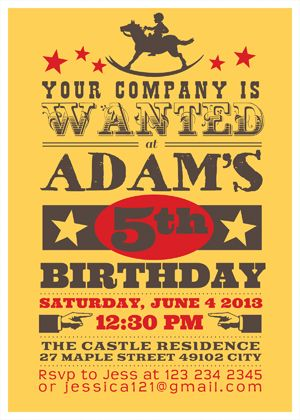 Western Cowboy Wanted Birthday Invitation