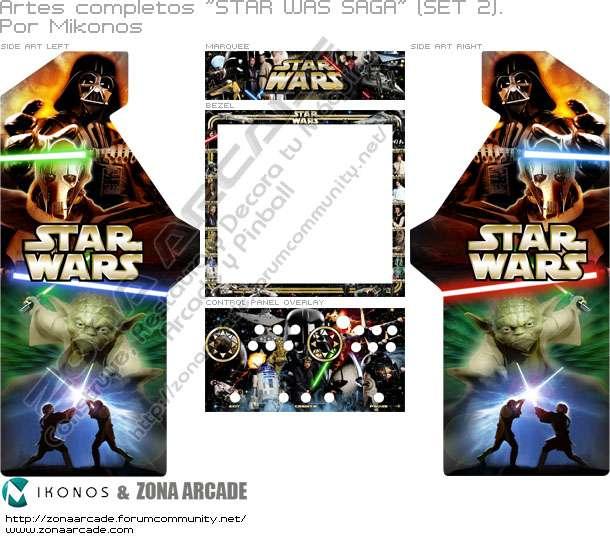 """Artes completos para decorar la máquina recreativa """"Star Wars Saga"""" (Set 2). Por Mikonos."""
