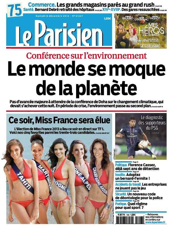 Le Parisien + Cahier Paris du Samedi 8 Décembre 2012